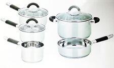 5PC INDUCTION STEEL CASSEROLE MILK PAN FRY SAUCEPAN GLASS LID COOKWARE POT SET Y