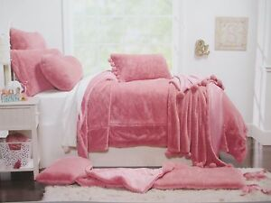 QUEENWEST Kids Girls Cozy Faux Fur Rose Pink Coverlet Blanket - Full/Queen
