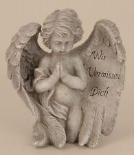 Engel mit Spruch auf Flügel 19,5 cm Grabschmuck Grabdeko Grabstein Gedenkstein