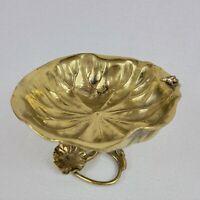 Vintage Solid Brass Bowl Lotus Leaf Lily Pad Frog Home Garden Decor Bird Bath