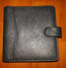 """Day-Timer Black Undated Planner Cover 6""""x6"""" Card Slots Pocket Wallet - Pre-owned"""