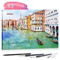 int!rend Aquarellpapier A3 300g/qm 20 Blatt inkl. 2 Pinsel Tankpinsel Bleistift