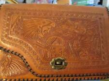 Hand Tooled Carved Vintage Brown Purse 11.25x7.5 inches, 2.5 inches Opening Widt