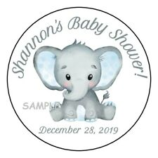 """12 Boy Baby Shower Party Stickers Favors Labels tags 2.5"""" Cute Elephant Blue"""