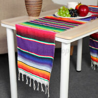 Mexican Serape Table Runner Fringe Cotton Tablecloth Fiesta Party Decor   !