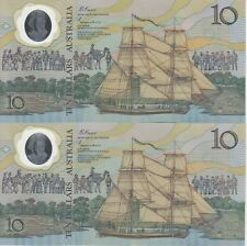 Australia 'Johnston - Fraser' AB Prefix Polymer 'Bi-Centennial' $10 (1988), UNC