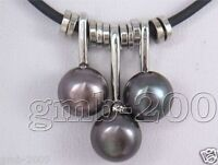 """3PCS Natural Black Freshwater Pearl And Leather Pendant Necklace 18""""Adjustable"""