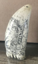 Antique Faux Scrimshaw Carving Ship Port Etching 6""