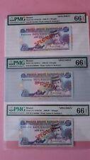 PMG66EPQ 1989-95 BRUNEI 3rd Series Sultan Bolkiah $1 Specimen 3p B1 B12 B22 P13s