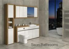 OAK / WHITE GLOSS BATHROOM FITTED FURNITURE WITH WALL UNITS 2200MM