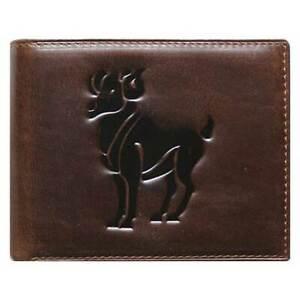 Unique Bi-Fold Brown Genuine Leather Wallet ID Credit Card Holder Zodiac ARIES