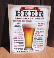 Order Beer Around The World Sign Tin Vintage Garage Bar Decor Old