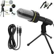 Professional 3.5mm Podcast Condenser Microphone PC Recording MIC W/Stand Tripod.
