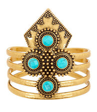 Lucky Brand Turquoise Stone Antiqued Gold-Tone Wide Cuff Bracelet $75