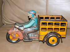 Marx Tin Speed Boy Delivery Motorcycle Cart Wind-Up Toy