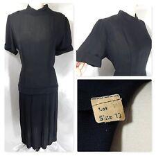1950s Vintage Dress~Sheer Black Drop-Waist Accordian Pleated Skirt~Bombshell S/M