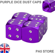 Purple & Chrome Dice Valve Dust Caps Universal Car Van Mini Ford Vauxhall - UK