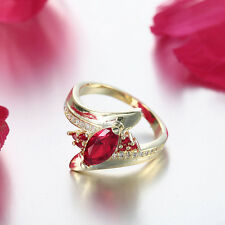 18K Yellow Gold Plated Flower Ring Austria Crystal Family Ring Size 7-9 LF