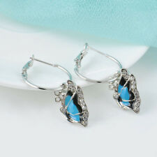 Crystal 1Pair Blue Rhinestone Enamel Butterfly Dangle Hoop Earrings GIFT WOMEN