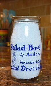 ARDEN FARMS Pint Milk Bottle Magic Food Salad Dressing Jar LOS ANGELES CA CAL