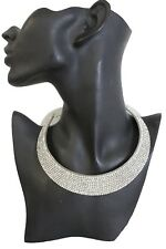 Women Sexy Fashion Hot Silver Metal Plate Cuff Band Choker Necklace Bling Beads