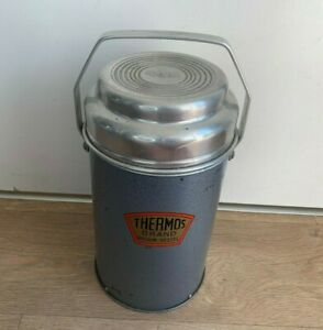 Large Vintage Thermos Brand Vacuum Vessel Flask- Metal With Cork Lid- Camping