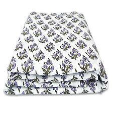 White Sanganeri Print Indian Hand Block Printed Cloth Pure Cotton Fabric 10 yard