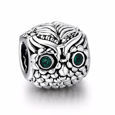 JS331Green eye owl Silver charms bead Fit European Bracelet/Necklace Chain