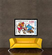 POSTER PRINT GIANT POSTAGE STAMP FINLAND ICE HOCKEY 60 SIXTY PENNI PAMP051