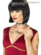 Adults Egyptian Tattoo Transfers Ladies Cleopatra Goddess Fancy Dress Accessory
