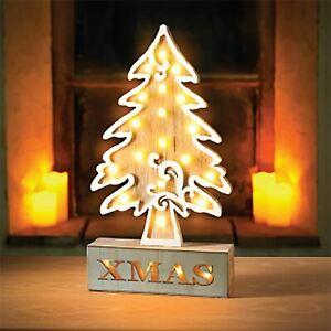 36cm Pre Lit Wooden 18 LED Xmas Christmas Tree Light Table Lamp