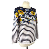 Joules 10 Blue White Stripe Floral Heavy Cotton Top Jumper Casual Long Sleeve