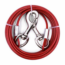 Heavy Duty Large Jumbo Red Dog Tie Out Cable Pet Coated Steel Leash Run