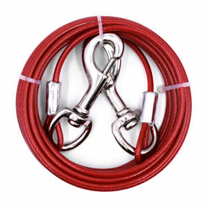 Heavy Duty Large Red Dog Tie Out Cable Pet Coated Steel Leash Run