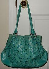 BRIGHTON Embroidered FLOWERS TURQUOISE LEATHER  Handbag Purse