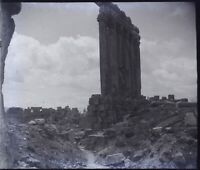 Libano Baalbek Colonnes Ruines Archeologia, Negativo Stereo Foto Placca Lente