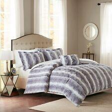 Super Soft Grey Brown Tan Chinchilla Faux Fur Comforter Cal King Queen 4 pcs Set