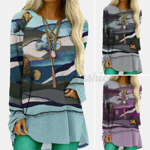Women Long Sleeve Holiday Loose Tops Shirt High Low Knitted Blouse Pullover Tee