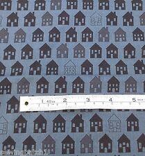 Black houses fabric retro on Grey fat quarters 100% cotton MCS 13-44908
