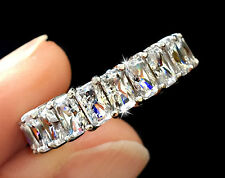 5 ct tw Radiant Cut Eternity Band Top Russian AAAAA CZ Moissanite Simulant S 4