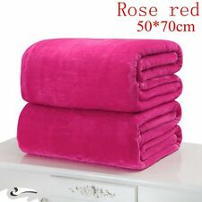 Super Soft Solid Warm Micro Throw Blanket Rug Plush Fleece Bed Quilt Sofa Home Rose Red