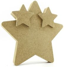 18mm MDF Star In Star 15cm 2 Interlocking Stars Freestanding Baby Gift Twins