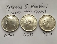 Three Superb Quality World War I George V Solid Silver Half Crowns 1914, 15 & 16