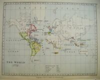Original 1899 Antique Map of THE WORLD (in 1772)