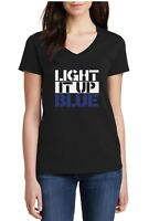Ladies V-neck Light It Up Blue Shirt Autism Awareness T-Shirt Autism Mom Tee