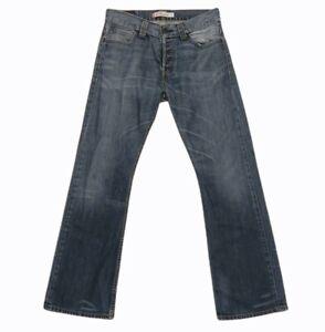 levis 512 denim jeans pants trousers bootcut zip up faded blue size 32w 32l