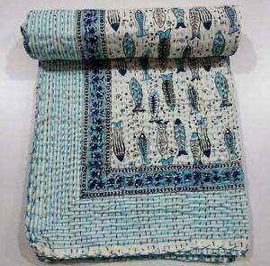 Indian Fish Print Kantha Quilt Throw Reversible Bedspread Vintage Cotton Gudri
