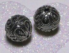 BALI .925 STERLING SILVER 13mm ROUND ORNATE FOCAL BEAD #1908 - (1)
