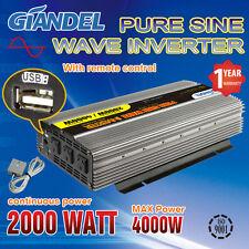 Pure Sine Wave Power Inverter 2000W (4000W Max)12V-240V With Remote Control