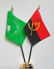 Angola & African Union Double Friendship Table Flag Set